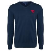 Classic Mens V Neck Navy Sweater-Flying D