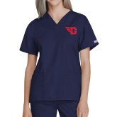 Ladies Navy WW Originals V Neck Scrub Top-Flying D