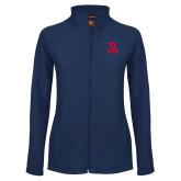 Ladies Fleece Full Zip Navy Jacket-Dayton Flyers Stacked