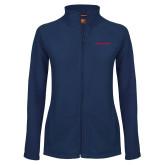 Ladies Fleece Full Zip Navy Jacket-Athletics Wordmark
