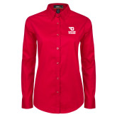 Ladies Red Twill Button Down Long Sleeve-Dayton Flyers Stacked