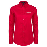 Ladies Red Twill Button Down Long Sleeve-Athletics Wordmark