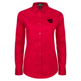 Ladies Red Twill Button Down Long Sleeve-Flying D