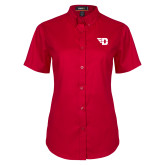 Ladies Red Twill Button Up Short Sleeve-Flying D