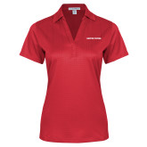 Ladies Red Performance Fine Jacquard Polo-Athletics Wordmark