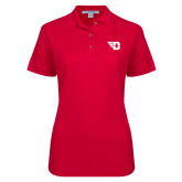 Ladies Easycare Red Pique Polo-Flying D