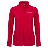 Ladies Fleece Full Zip Red Jacket-Athletics Wordmark
