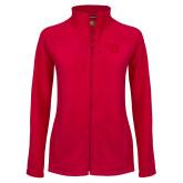 Ladies Fleece Full Zip Red Jacket-Flying D