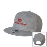 Heather Grey Wool Blend Flat Bill Snapback Hat-Dayton Flyers