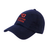 Navy Twill Unstructured Low Profile Hat-Dayton Flyers Stacked