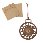 Wood Holiday Ball Ornament-Flying D Engraved