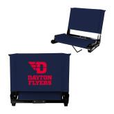 Stadium Chair Navy-Dayton Flyers Stacked