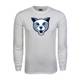 White Long Sleeve T Shirt-Wildcat Head