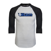 White/Black Raglan Baseball T-Shirt-Daemen College Wildcats w/ Head