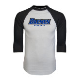 White/Black Raglan Baseball T-Shirt-Daemen Wildcats