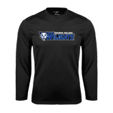 Performance Black Longsleeve Shirt-Daemen College Wildcats w/ Head