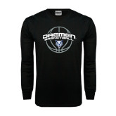 Black Long Sleeve TShirt-Daemen Basketball w/ Ball