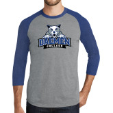 Grey/Royal Heather Tri Blend Baseball Raglan-Official Logo
