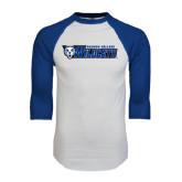 White/Royal Raglan Baseball T Shirt-Daemen College Wildcats w/ Head
