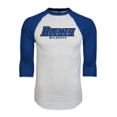 White/Royal Raglan Baseball T Shirt-Daemen Wildcats