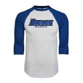 White/Royal Raglan Baseball T Shirt-Daemen Wildcats