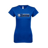Next Level Ladies SoftStyle Junior Fitted Royal Tee-Daemen College Wildcats w/ Head