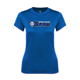 Ladies Syntrel Performance Royal Tee-Daemen College Wildcats w/ Head