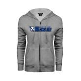 ENZA Ladies Grey Fleece Full Zip Hoodie-Daemen College Wildcats w/ Head