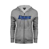 ENZA Ladies Grey Fleece Full Zip Hoodie-Daemen Wildcats