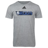 Adidas Sport Grey Logo T Shirt-Daemen College Wildcats w/ Head