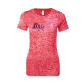 Next Level Ladies Junior Fit Fuchsia Burnout Tee-Daemen Wildcats Foil