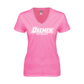Next Level Ladies Junior Fit Deep V Pink Tee-Daemen Wildcats