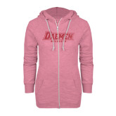 ENZA Ladies Hot Pink Marled Full Zip Hoodie-Daemen Wildcats