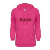 ENZA Ladies Hot Pink V Notch Raw Edge Fleece Hoodie-Daemen Wildcats