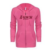 ENZA Ladies Hot Pink Light Weight Fleece Full Zip Hoodie-Daemen Wildcats