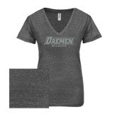 ENZA Ladies Graphite Melange V Neck Tee-Daemen Wildcats