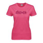 Ladies Fuchsia T Shirt-Daemen Rhinestones