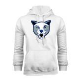 White Fleece Hoodie-Wildcat Head