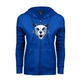 ENZA Ladies Royal Fleece Full Zip Hoodie-Wildcat Head