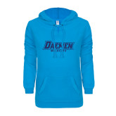 ENZA Ladies Pacific Blue V Notch Raw Edge Fleece Hoodie-Daemen Wildcats