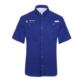 Columbia Tamiami Performance Royal Short Sleeve Shirt-Daemen College Wildcats w/ Head