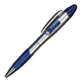 Silver/Blue Blossom Pen/Highlighter-Daemen College Wildcats w/ Head