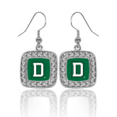Crystal Studded Square Pendant Silver Dangle Earrings-Dartmouth D