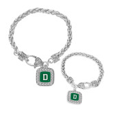 Silver Braided Rope Bracelet With Crystal Studded Square Pendant-Dartmouth D