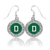 Crystal Studded Round Pendant Silver Dangle Earrings-Dartmouth D