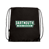 Nylon Black Drawstring Backpack-Dartmouth Big Green