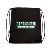 Nylon Black Drawstring Backpack-Dartmouth Big Green