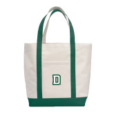 Contender White/Dark Green Canvas Tote-Dartmouth D