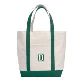 Contender White/Dark Green Canvas Tote-Dartmouth D