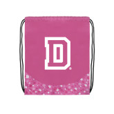 Nylon Pink Bubble Patterned Drawstring Backpack-Dartmouth D